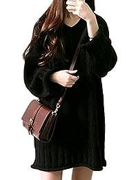 ELPIS レディースワンピース 秋冬 Vネック 長い ルーズ長袖 ツイーター セーター かわいい ブラック