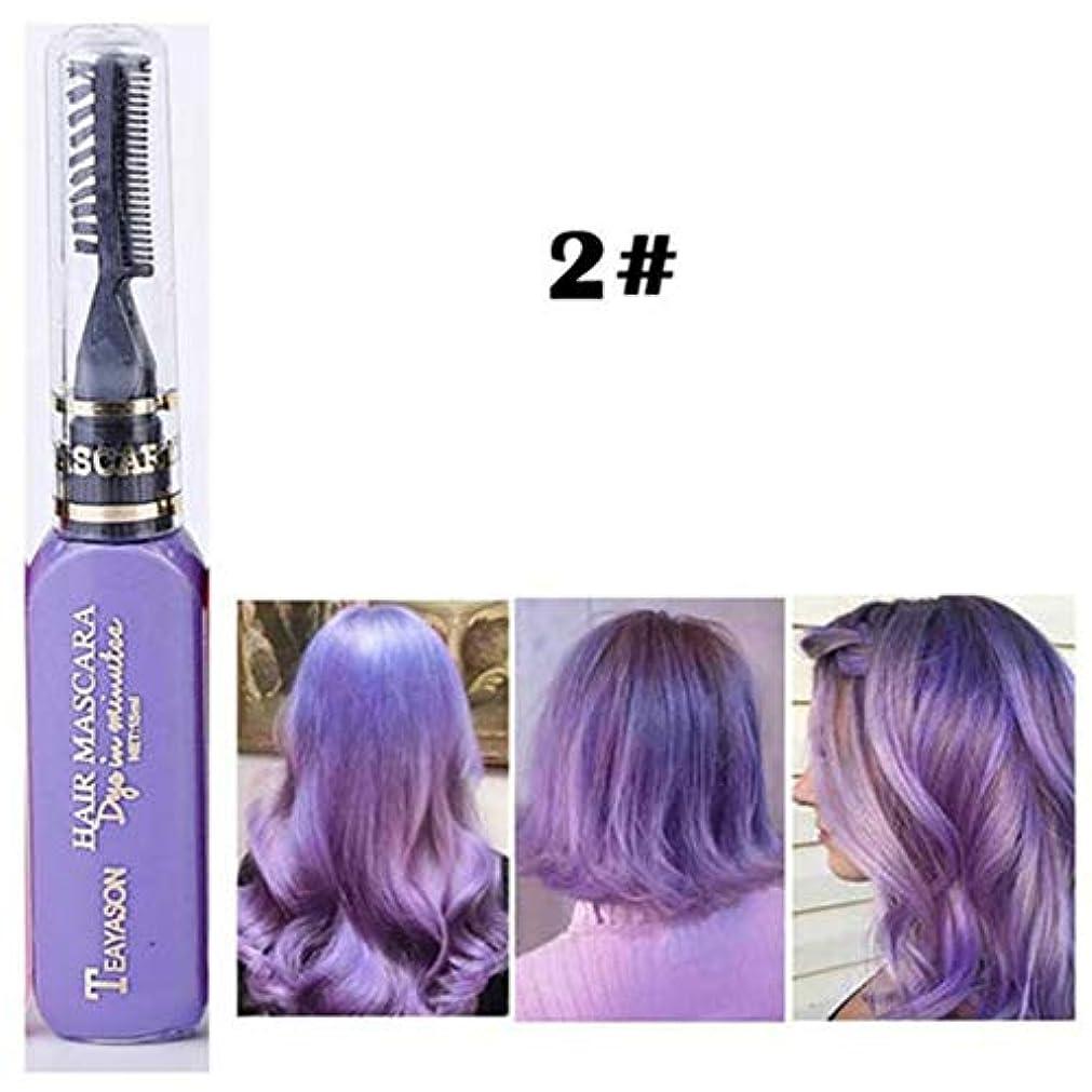 サラミ案件屋内でMurakush ヘアカラー 一時的 インスタント 髪染料 マスカラ 非毒性 使い捨て カラークリーム マルチカラー ペンヘアケア 2#パープル