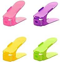 シューズホルダー  省スペース 靴収納 シューズラック 男女兼用 靴箱 下駄箱 スペースラック 靴スタンド 靴ホルダー シューズボックス 4個セット (pink green yellow purple)