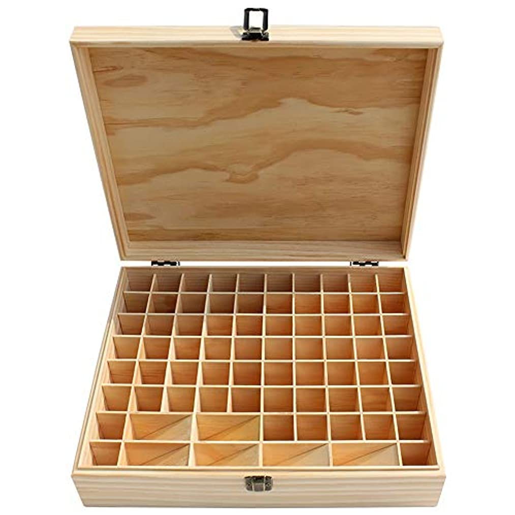 毒挽く素晴らしいです大74スロット木製のエッセンシャルオイルストレージボックスナチュラルパインウッド アロマセラピー製品 (色 : Natural, サイズ : 34X27.5X9CM)