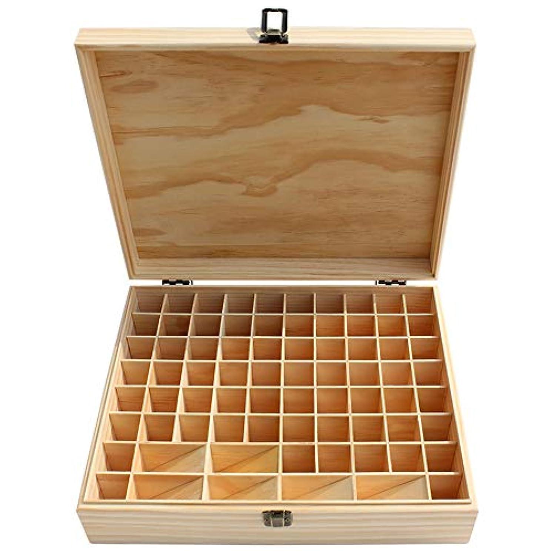 プット移民余暇エッセンシャルオイルの保管 大74スロット木製のエッセンシャルオイルストレージボックスナチュラルパインウッド (色 : Natural, サイズ : 34X27.5X9CM)