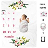 Premium Fleece Baby Monthly Milestone Blanket for Boy Girl | Personalized Photography Background Blankets | Thick Flannel for Mom Newborn Bib + Frame(Gift Set