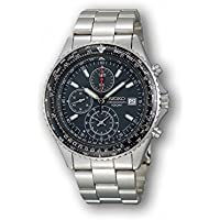 Seiko Flightmaster SND253 P1 Silver with Black Chronograph Dial Men's Analog Pilots Watch