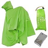 MG TRAILレインコートシート登山リュックを背負い着用できる ポンチョ ビバーク用防寒シート付(グリーン)