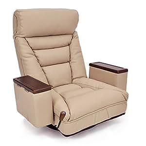 レバー式ガス圧無段階リクライニング回転座椅子 「アリオン」 (収納ボックス・ヘッドリクライニング機能付) 合皮タイプ ベージュ色(ライトブラウン色)