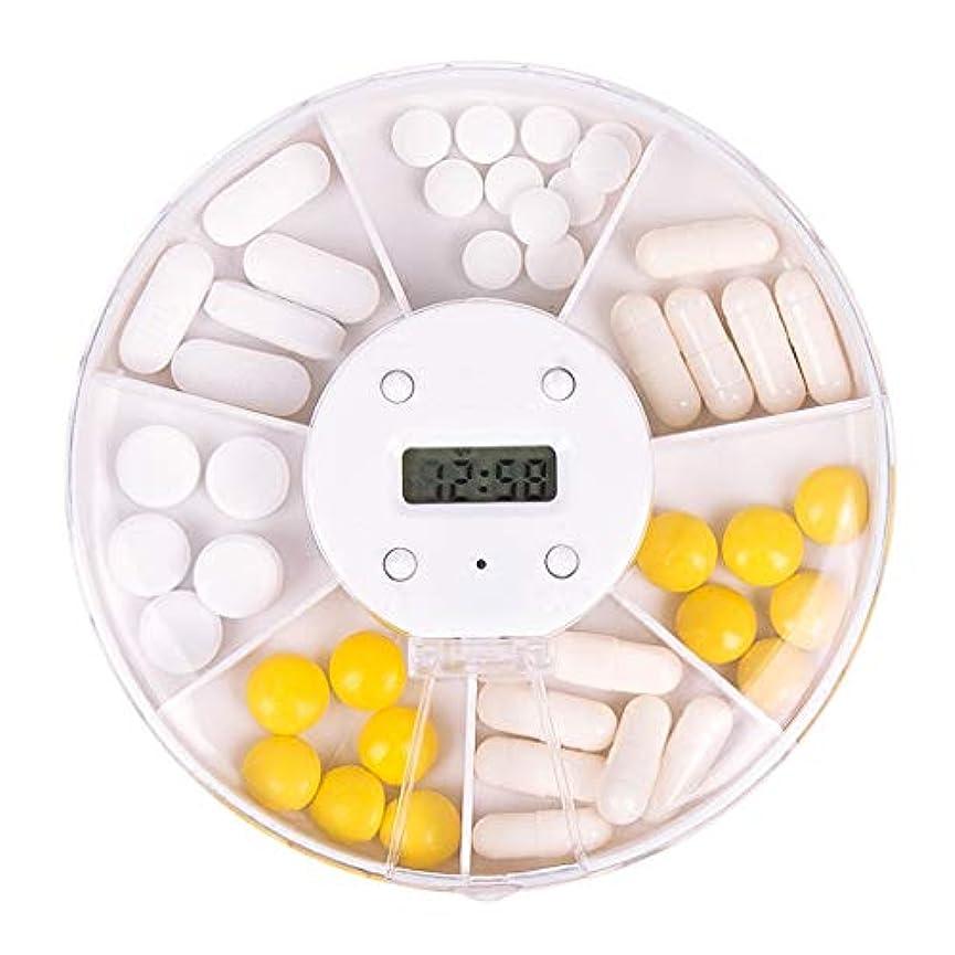 批判矛盾ブローWXYXG 携帯用小さい丸薬箱は薬装置の薬箱と分配します7日週インテリジェントなタイミングの薬のリマインダー