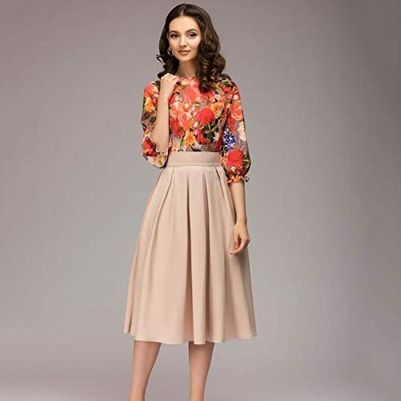 首尾一貫した動かない鏡Maxcrestas - 夏ヴィンテージO-ネック半袖ブルーフローラルプリントAラインドレスエレガントな膝丈オフィスの女性のドレス