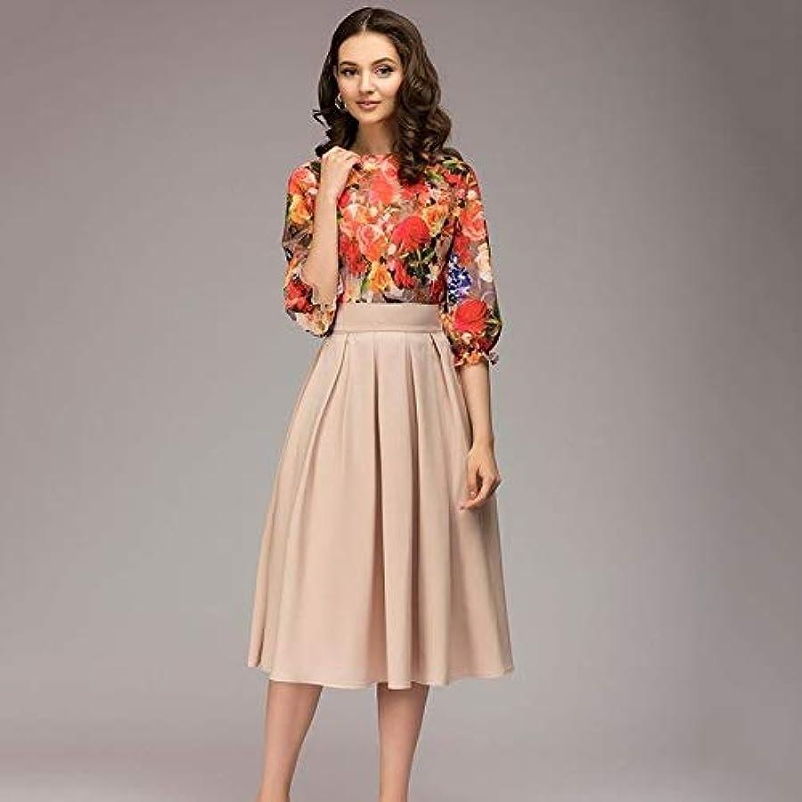 正確なぞらえる限界Maxcrestas - 夏ヴィンテージO-ネック半袖ブルーフローラルプリントAラインドレスエレガントな膝丈オフィスの女性のドレス