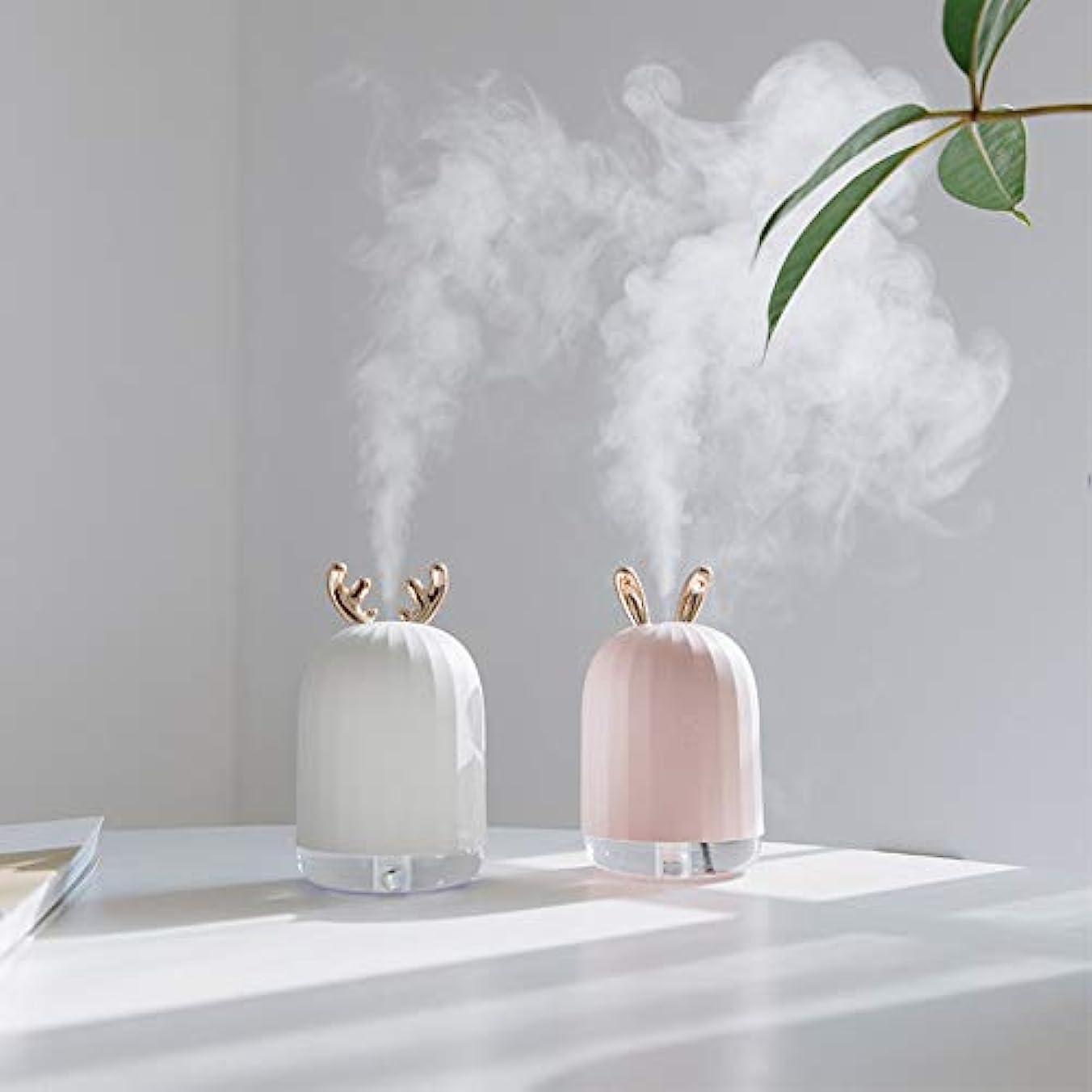 カストディアン広告面ZXF LED水蒸気顔加湿器usb充電ナノスプレーカラフルな雰囲気ライトホワイトアントラーズピンクうさぎモデルでクリエイティブ美容水和機器コールドスプレークリエイティブ 滑らかである (色 : White)