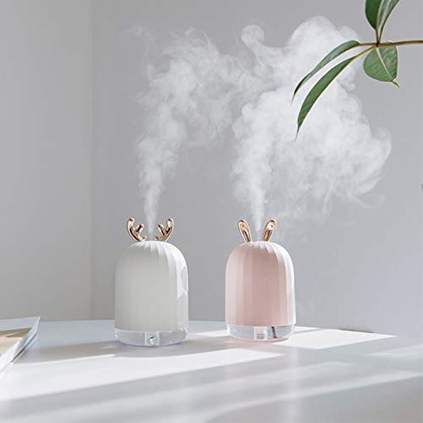 留め金バイソン移行するZXF LED水蒸気顔加湿器usb充電ナノスプレーカラフルな雰囲気ライトホワイトアントラーズピンクうさぎモデルでクリエイティブ美容水和機器コールドスプレークリエイティブ 滑らかである (色 : White)