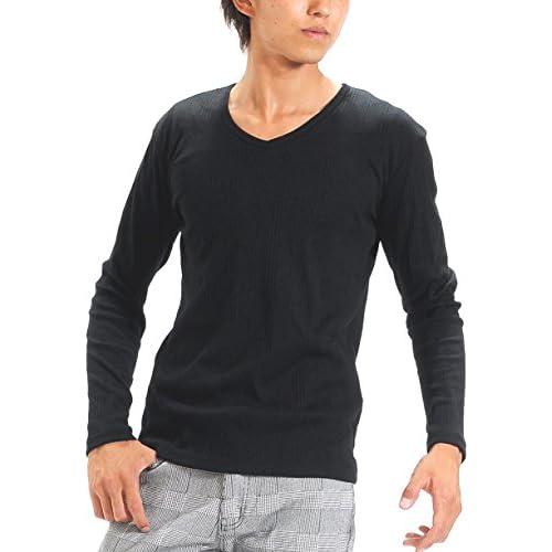 (スペイド) SPADE Tシャツ メンズ 無地 七分袖 半袖 カットソー Vネック【q424】 (L, 長袖×ブラック)