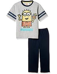[ミニオンズ] Minion 男児綿混天竺パジャマ袋付きTスーツパジャマ(半袖トップス+7分丈パンツ) 60833UD