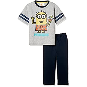 [ミニオンズ] MINION 男児綿混天竺パジャマ袋付きTスーツパジャマ(半袖トップス+7分丈パンツ) 60833UD グレー 日本 150 (日本サイズ150 相当)