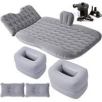 膨脹可能なベッド - 2つの多機能の収納スツールが付いているFolable車のエアマットレス、公園の草のテントのための膨脹可能なエアクッション (色 : Gray)