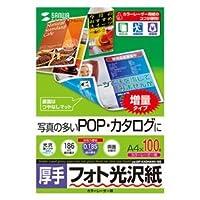 (まとめ)サンワサプライ カラーレーザー用フォト光沢紙・厚手 LBP-KAGNA4N-100【×2セット】