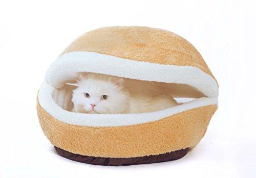 にゃんこ快適ベッド マカロン型 おしゃれ 猫 ハウス  可愛い ベージュ 色