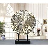 Jhcpca 高級ヨーロッパの家具/クリエイティブリビングルームテレビキャビネット樹脂製の装飾品/ビジネス用品太陽の装飾品 (Color : Silver)