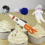 iMagitek 24 Pack Space Astronaut Cupcake Toppers Cake Decorations for Space Theme Party Kids Birthday Party Baby Shower