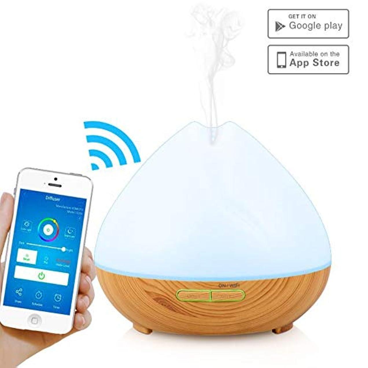 スマートWifiワイヤレスエッセンシャルオイルアロマセラピー400 ml超音波ディフューザーと加湿器AlexaとGoogle自宅電話アプリと音声制御-スケジュールの作成-LEDとタイマー設定