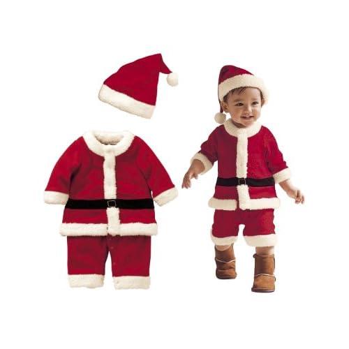 【パパ、ママ注目!】  ふんわりフリース サンタクロース 衣装 赤ちゃん 子供服 男の子 身長90cm 2歳~3歳くらいまで用 ( 帽子 + 上下セット + ミニサンタ3個 ) Mサイズ cr23