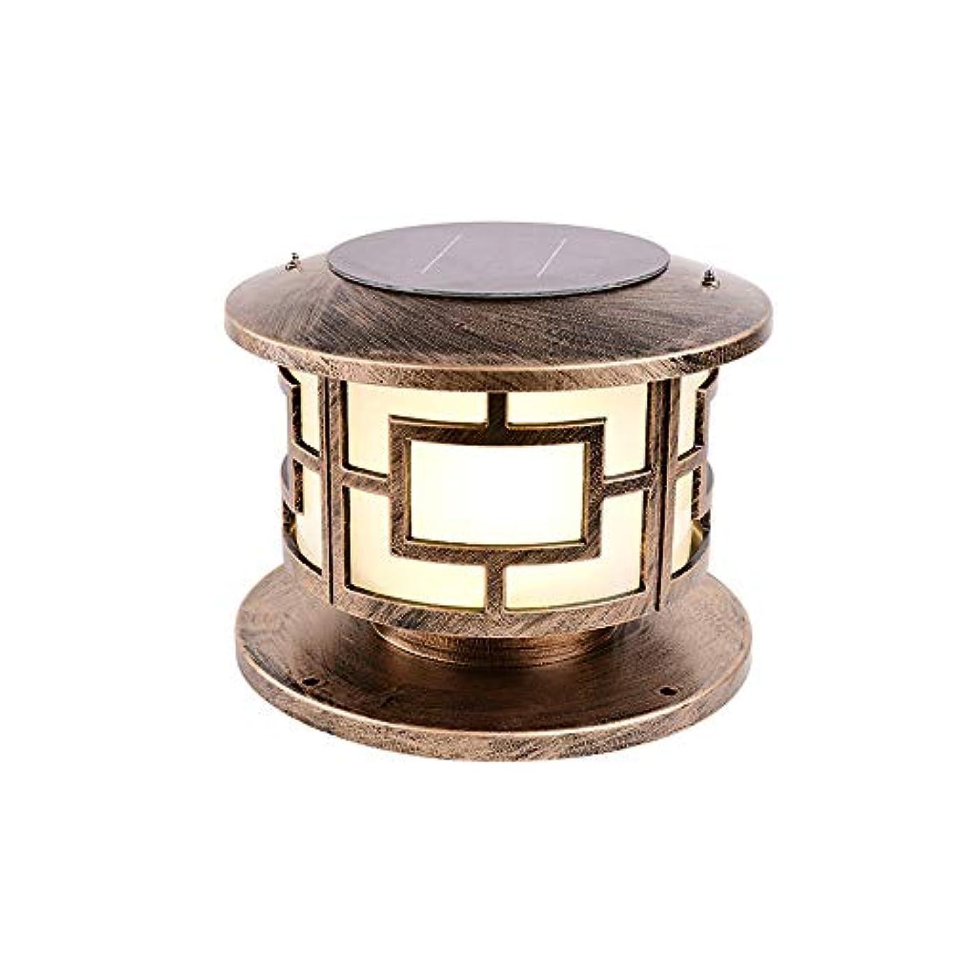 場合代数的スチールPinjeer E27ソーラーヴィンテージ防水屋外ブラスポストライトレトロ工業用金属アルミニウムの柱ランプガーデンドアストリートホームヴィラ装飾コラムライト (Color : Warm Light, サイズ : S)
