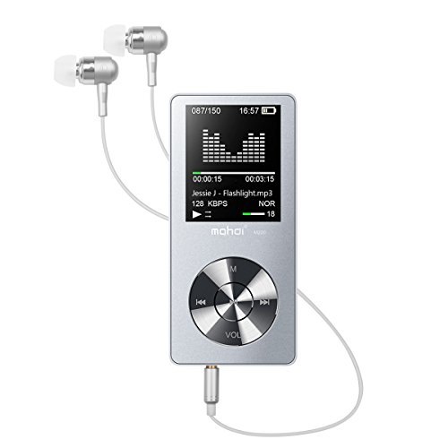 mp3プレーヤー Wrcibo 8GB スピーカー内蔵 sdカード64GB対応 HiFi超高音質 ワンタッチで即録音 FMラジオ ボイスレコーダー搭載 多機能 イヤホン ストラップボール付き (8GB, シルバー)