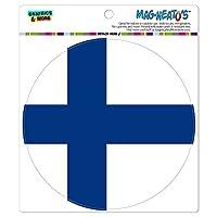 Fin土地国立国旗 - サークル MAG-格好いい'S(TM)カー/冷蔵庫マグネット