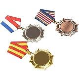 Toyvian 3pcsメタル賞メダルアクティビティコンペティション受賞メダル記念碑メダル(金、銀、銅)