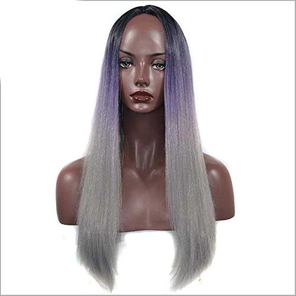 心理学味付けバッチWASAIO 女性用ナチュラルウィッグブラックパープルグレーロングストレートヘアミドルパートアクセサリースタイル交換用コスプレパーティードレス (色 : Black purple gray, サイズ : 60cm)