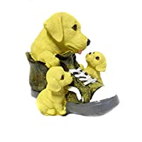 DINY Home & Style マザー・ドッグ 古い靴と彼女の子犬 ポリレジン像 貯金箱 5.25インチ ベージュ