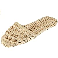 Vintage Handmade Natural Straw Rattan Woven Slipper?Open-Toe Slippers?Flip Flop Slip on Bath Spa Summer?Lightweight Shoes Breathable Four-Season Indoor Casual Flat Shoes