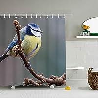 浴室カーテン バスカーテン お風呂 シャワーカーテン ユニットバス バスタブ 防水防カビ 軽量 布製 リング付属 取付簡単動物の鳥