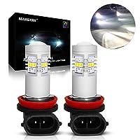 MAXGTRS H8 3020チップ6000K白色LEDフォグ電球H9 H11 H16JPデイタイムランニングライト、フォグランプ-360度の非常に明るいコンデンサーレンズ付きLEDフォグライト
