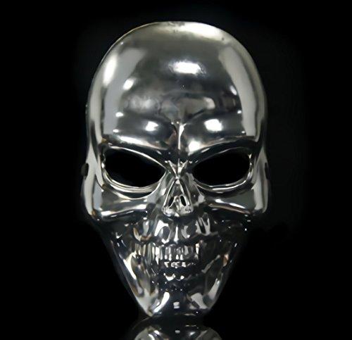ドクロ 骸骨 お面 スカル フェイス マスク 仮面 ハロウィン コスプレ 衣装 道具 イベント パーティー グッズ (メタル)