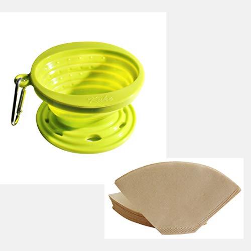コーヒードリッパー シリコン製 折りたたみ式 ペーパーフィルター100枚付き コーヒー漏斗 FDA認証 ラウンド (Green)