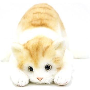 日本製 リアルな猫のぬいぐるみ 58cm (トラ茶L目明き)