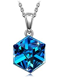 NINASUNスワロフスキーのクリスタル製ネックレス「青の炎」シルバーS925バミューダ?ブルーのペンダント