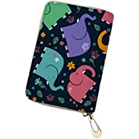 Credit Card Holder for Women Small Leather Wallet with Zippers Cute Cartoon Animal Pattern