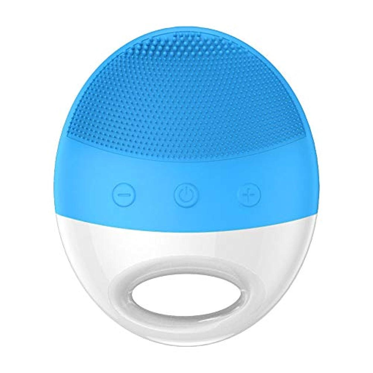 無心世論調査近々超音波美の洗浄器械の電気シリコーンの洗浄のアーティファクトの気孔のクリーニングの器械 (Color : Blue)