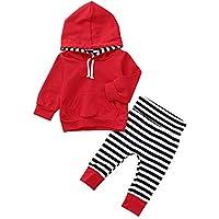 子供服 秋服 長袖 可愛い服 2点セット 可愛い キッズ服 女の子 男の子 無地 パーカセータートップ+ ストライプ プリント パンツ 赤色 70CM-80CM-90CM-100CM(6ヶ月-24ヶ月)洋子ちゃん