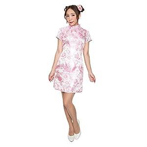 ミニチャイナ 羽白 ピンクS チャイナドレス