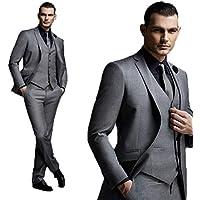 BOwiths Men Dark Grey Wedding Suits 3 Pieces Fashion Slim Fit Groom Tuxedos Blazer