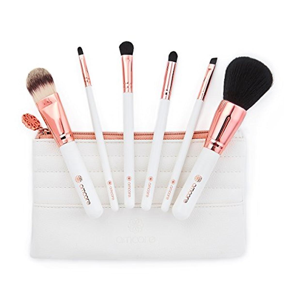 リビジョン強います謝罪amoore 6本セット 化粧筆 メイクブラシ コスメ ブラシ 化粧ブラシ 収納ケース付き(6本, ホワイト)