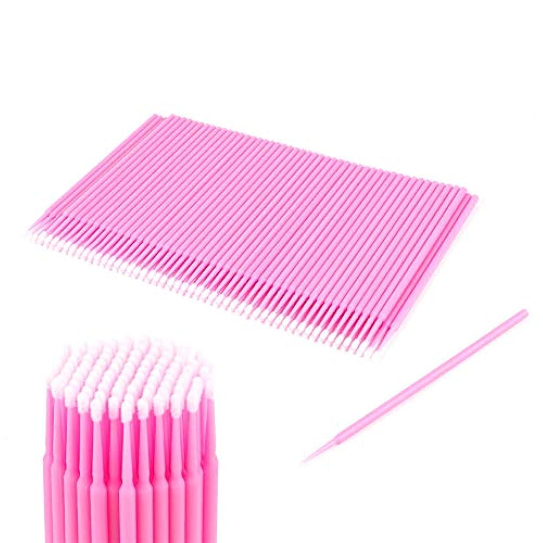 知り合い入口膨らみ100ピース2ミリメートルピンク使い捨て使い捨てマイクロブラシ化粧レギュラーツールまつげ
