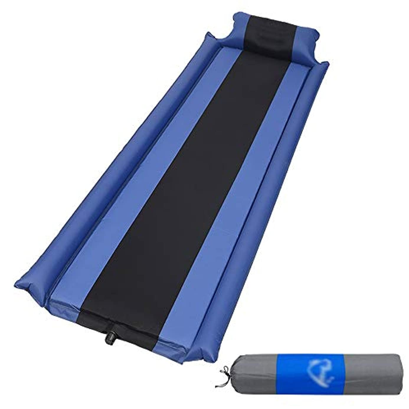 覚醒腰保守的自己膨脹式マットレスキャンプ枕携帯用膨脹可能な睡眠のマット、スポンジの空気マットのベッドのハイキングのバックパックのテントの寝袋 (Color : Blue)