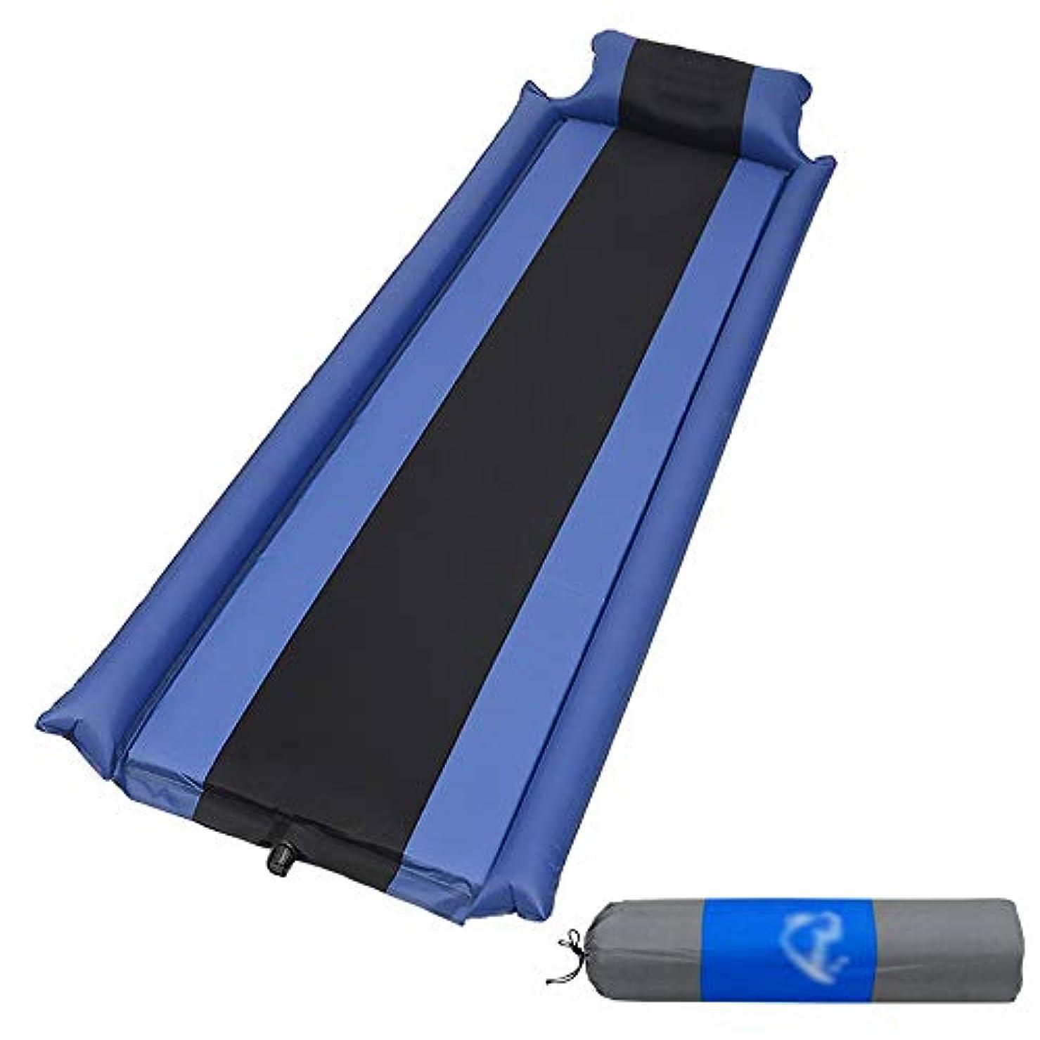 タブレット要求南方の自己膨脹式マットレスキャンプ枕携帯用膨脹可能な睡眠のマット、スポンジの空気マットのベッドのハイキングのバックパックのテントの寝袋 (Color : Blue)
