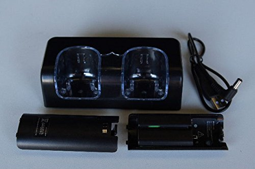 138OnlineShop/Wii WiiU共通リモコン充電器+バッテリー2個黒/28-1800