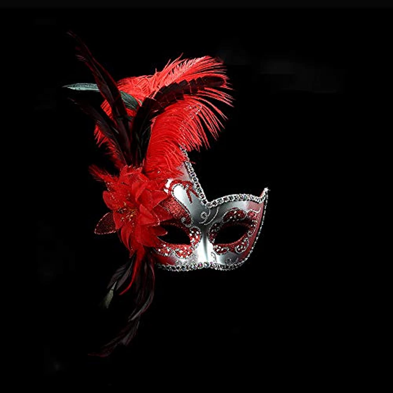 口実留まる気質Nanle ハロウィンマスクハーフフェザーマスクベニスプリンセスマスク美容レース仮面ライダーコスプレ (色 : Red)