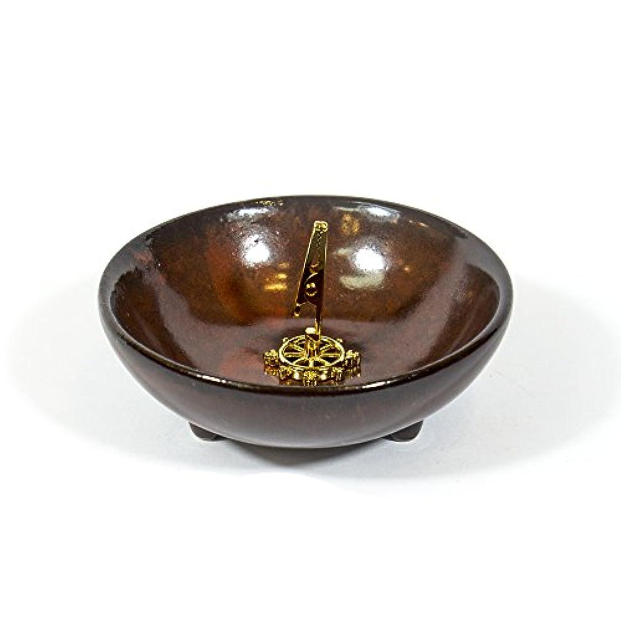 聡明ゴルフ高原(DarkRed) - Incense Holder for Coils Sticks Cones Ceramic Holder Dark Red Type