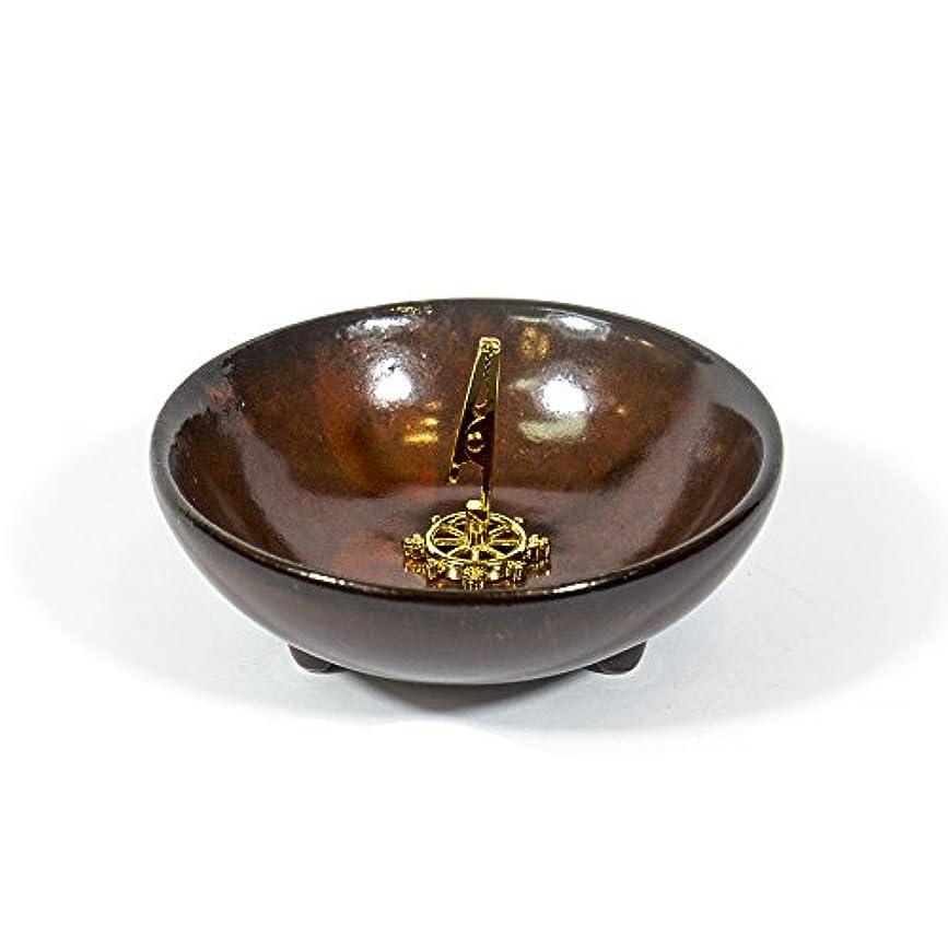 漏れ祭司装置(DarkRed) - Incense Holder for Coils Sticks Cones Ceramic Holder Dark Red Type